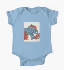 Little Blue Elephant in her secret garden One Piece - Short Sleeve
