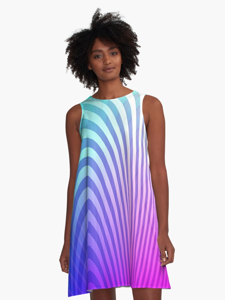 Rainbow Ombre Wave Pattern A-Line Dress Front