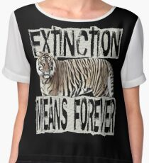 TIGER EXTINCTION MEANS FOREVER Women's Chiffon Top