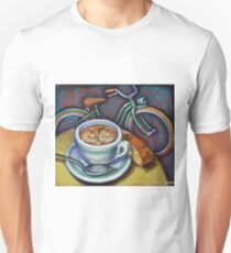 Green Schwinn bicycle with cappuccino and biscotti. T-Shirt