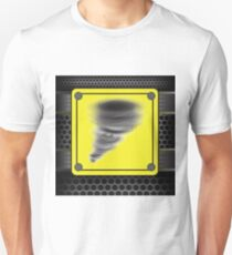 colorful illustration with Hurricane warning sign on a dark background Unisex T-Shirt