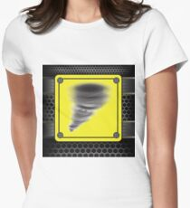 colorful illustration with Hurricane warning sign on a dark background T-Shirt