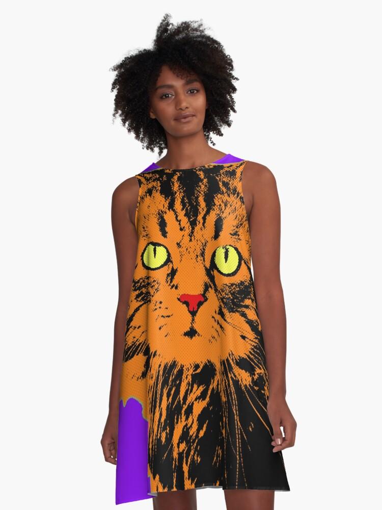 CAT POP ART - VIOLET A-Line Dress Front