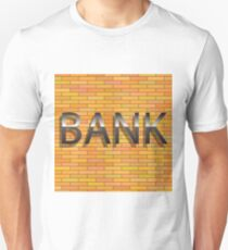 colorful illustration with bank sign on a brick background Unisex T-Shirt