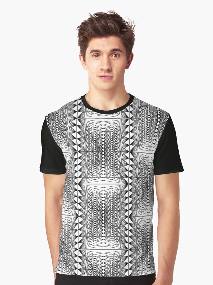 Geometry Mesh 1 black and white Graphic T-Shirt Front