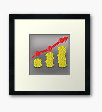 colorful illustration with financial bar chart diagram on a gray background Framed Print