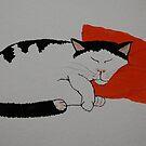 Jose on Orange Cushion by ApeArt