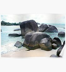 Rocks at sea and on white sand beach, Belitung Island. Poster