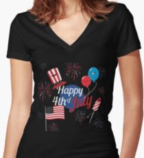 Great with Balloons Fireworks Independence Day Women's Fitted V-Neck T-Shirt