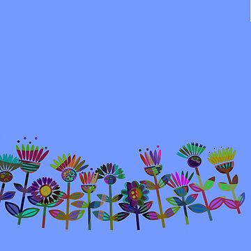 multicolour retro flowers by kittymitch