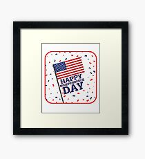 Happy Independence Day with Confetti Framed Print