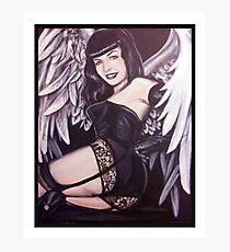 Bettie Page Angel Painting Photographic Print