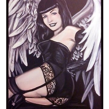 Bettie Page Angel Painting by rainbowise
