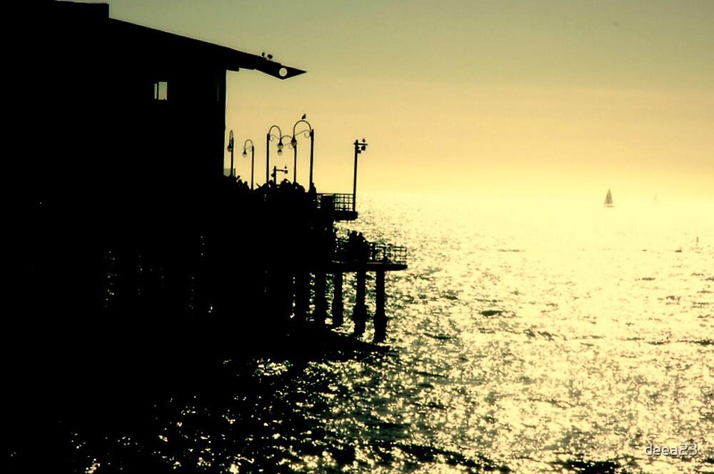 santa monica pier at sunset by deea23