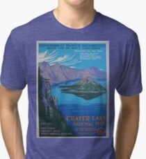 Travel Poster - Crater Lake National Park (1930s) Tri-blend T-Shirt