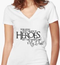 met my dad Women's Fitted V-Neck T-Shirt