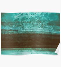 Cool Vintage Retro Style Grunge Distressed Blue And Brown Pastel Tone Abstract Art Design Poster