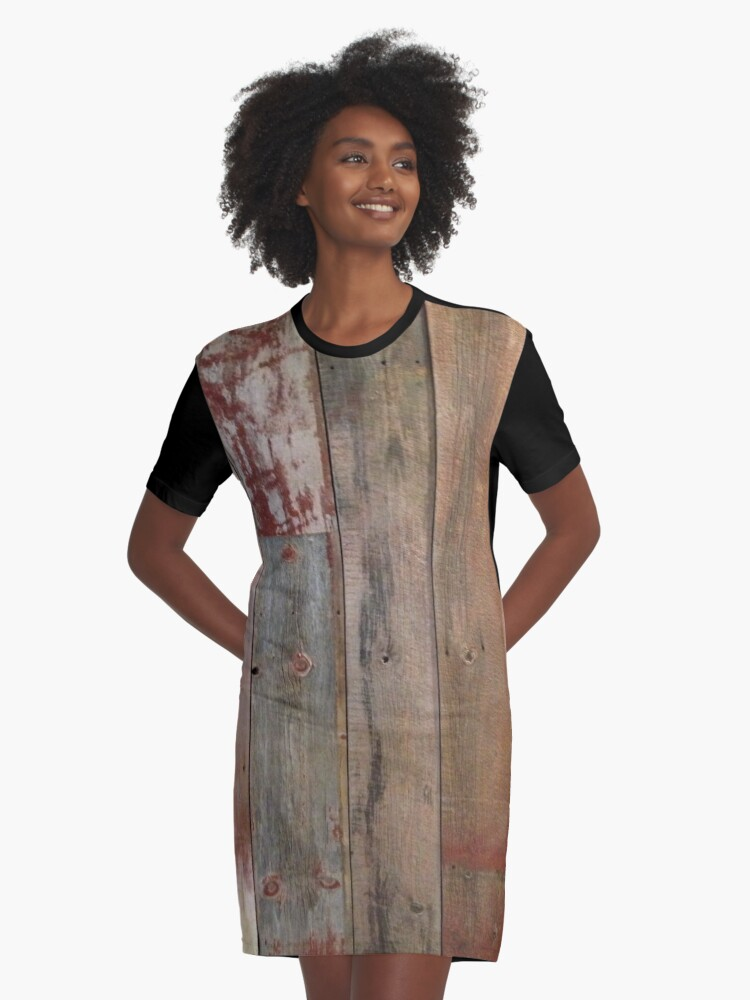 Farmhouse chic Rustic western country primitive barn wood Graphic T-Shirt Dress Front