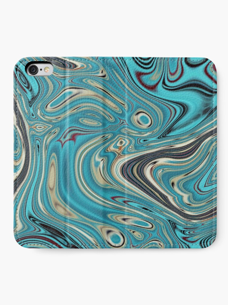 Alternative Ansicht von abstrakter Strandmarmormuster aquamariner Türkis wirbelt iPhone Flip-Case