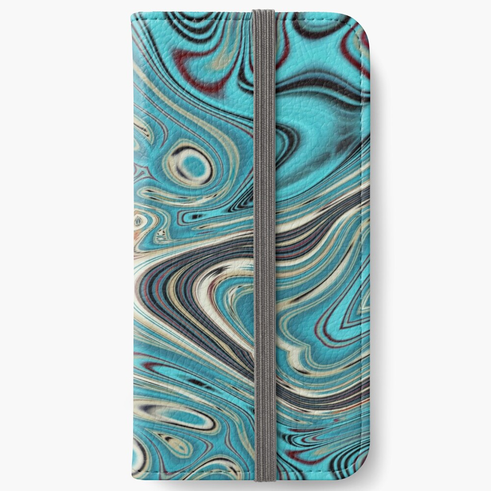 abstrakter Strandmarmormuster aquamariner Türkis wirbelt iPhone Flip-Case