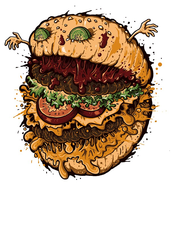 Quot Monster Burger Quot Stickers By Letter Q Redbubble