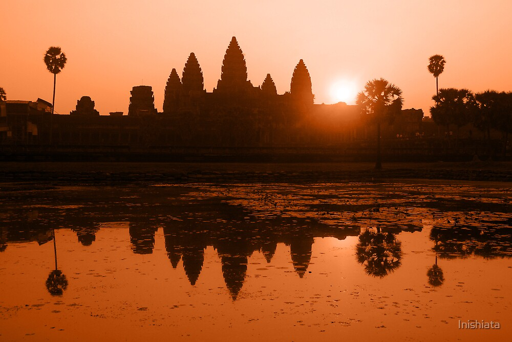 Orange Sunrise over Angkor Wat  by Inishiata