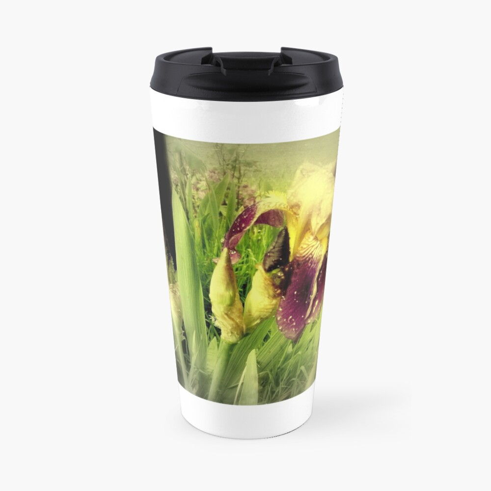 Raindrops on Purple Irises #5 Travel Mug