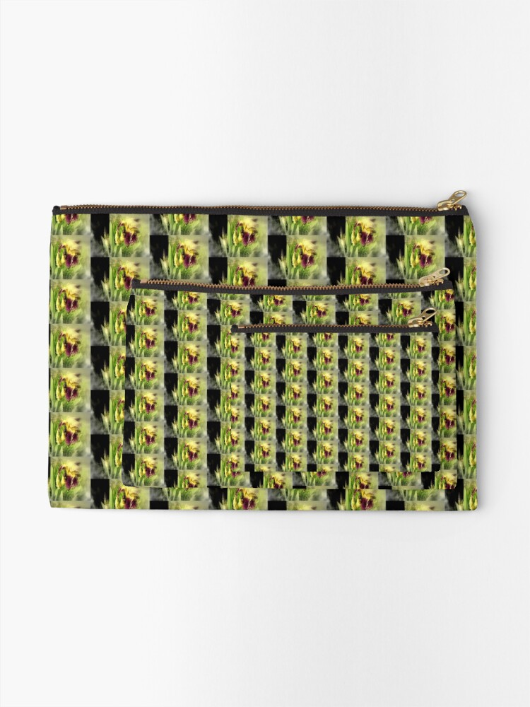 Alternate view of Raindrops on Purple Irises #5 Zipper Pouch