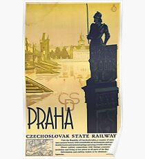 Prague, Czech Republic, vintage travel poster Poster