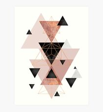 Geometric Triangles in blush and rose gold Art Print