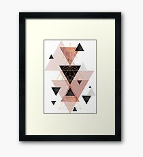 Geometric Triangles in blush and rose gold Framed Print