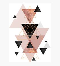 Geometric Triangles in blush and rose gold Photographic Print