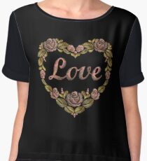Embroidery pink gold heart of roses and the inscription love. Chiffon Top