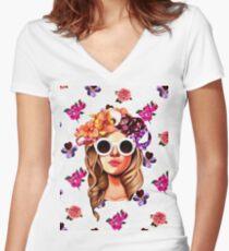 go go girl  Women's Fitted V-Neck T-Shirt