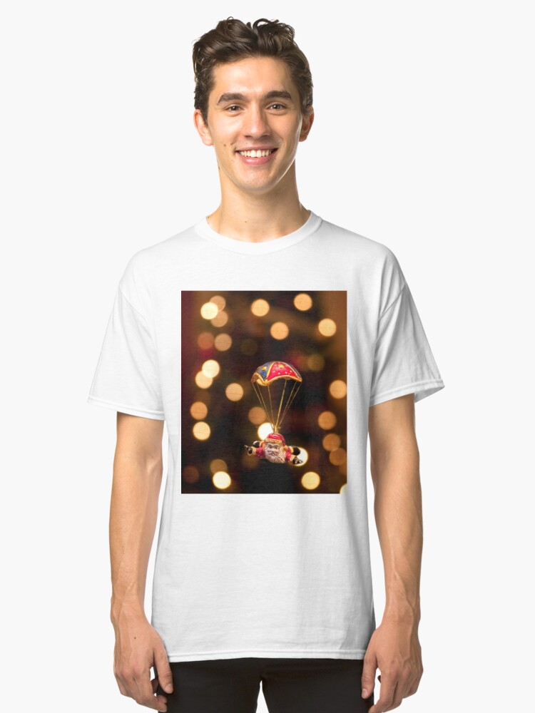 Alternate view of Skydiving Santa Classic T-Shirt