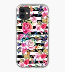 Cute spring floral and stripes watercolor pattern iPhone Case