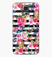Cute spring floral and stripes watercolor pattern Case/Skin for Samsung Galaxy