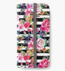 Cute spring floral and stripes watercolor pattern iPhone Wallet/Case/Skin