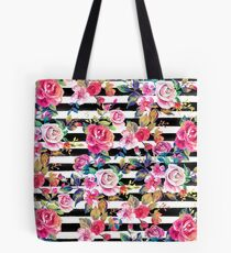 Cute spring floral and stripes watercolor pattern Tote Bag