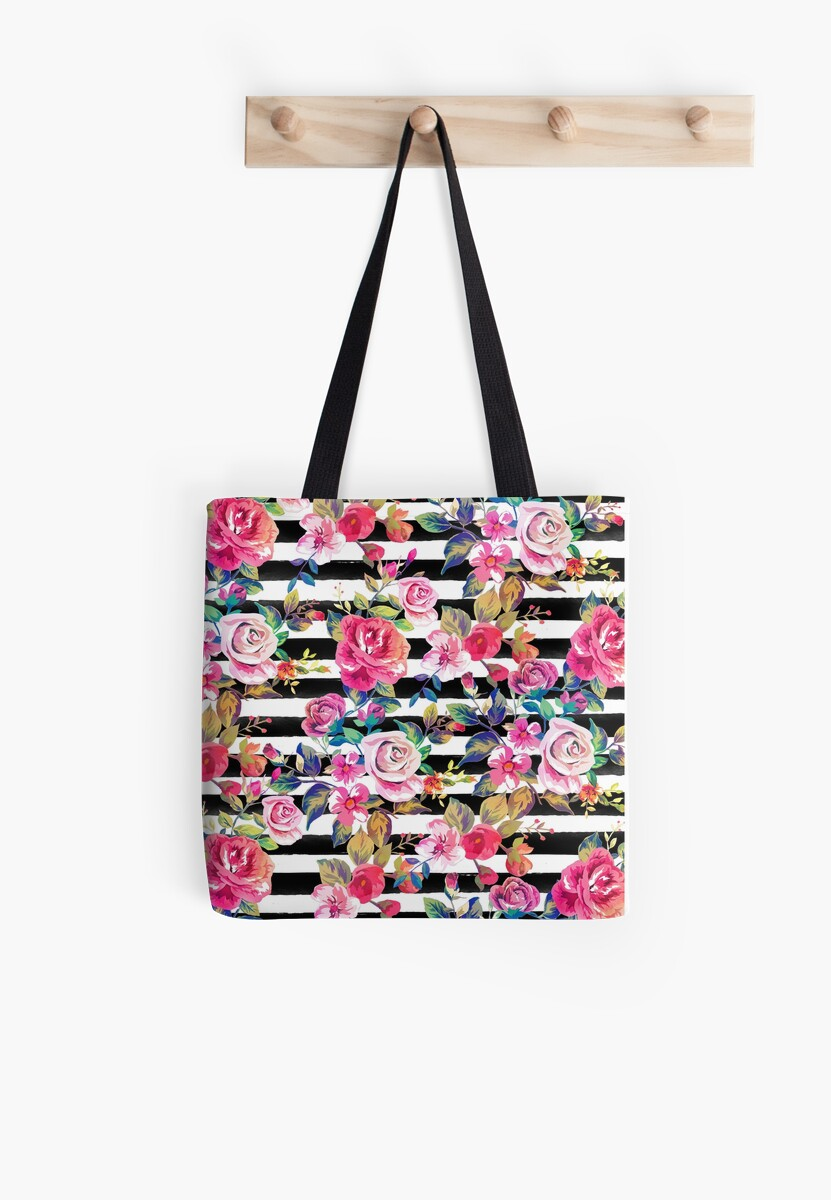 Cute spring floral and stripes watercolor pattern by InovArtS