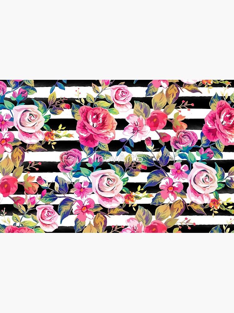Netter Frühling Blumen- und Streifen-Aquarellmuster von InovArtS