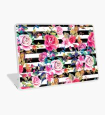 Cute spring floral and stripes watercolor pattern Laptop Skin
