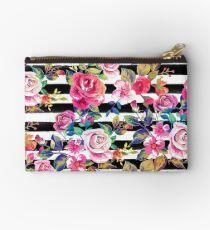 Netter Frühling Blumen- und Streifen-Aquarellmuster Studio Clutch