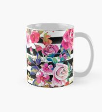 Cute spring floral and stripes watercolor pattern Mug