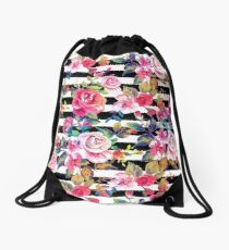 Cute spring floral and stripes watercolor pattern Drawstring Bag
