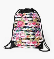 Mochila saco Linda primavera floral y rayas patrón de acuarela