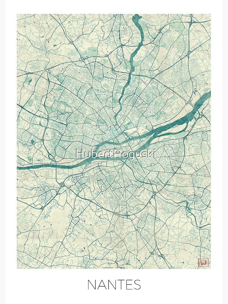 Nantes Map Blue Vintage by HubertRoguski