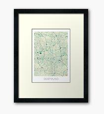 Dortmund Map Blue Vintage Framed Print