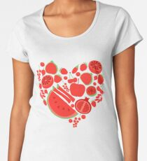 Red fruits heart shape. Eco vegan healhy food Women's Premium T-Shirt