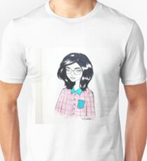 Girly Fashion Illustration, Character Portrait Drawing T-Shirt